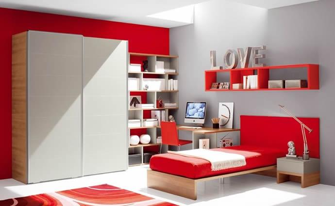 Modello Di Cameretta Rossa Grigia Dal Design Moderno Presso Bassi Design