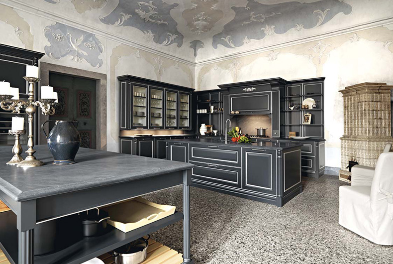 Cucina nera completa, modello Elite proposta dall'azienda Cesar