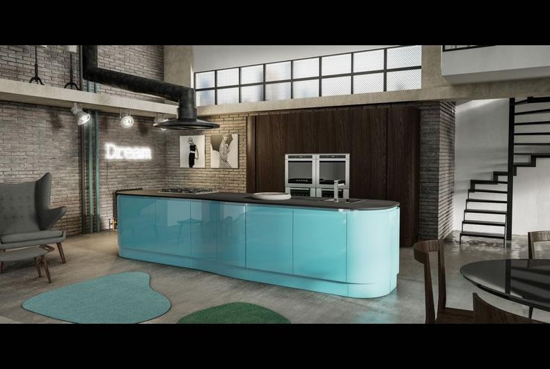 cucina-berloni-B50-marrone-verde - Bassi Design Piacenza