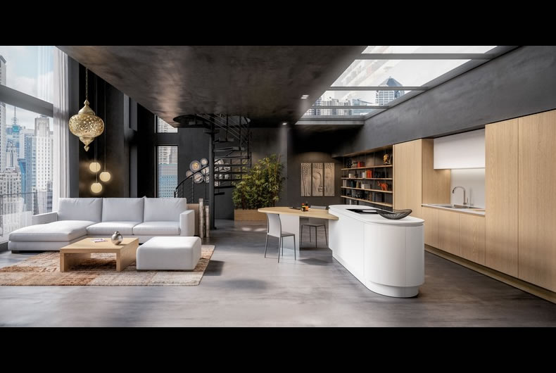 cucina-berloni-b50-curva-rovere-naturale - Bassi Design Piacenza