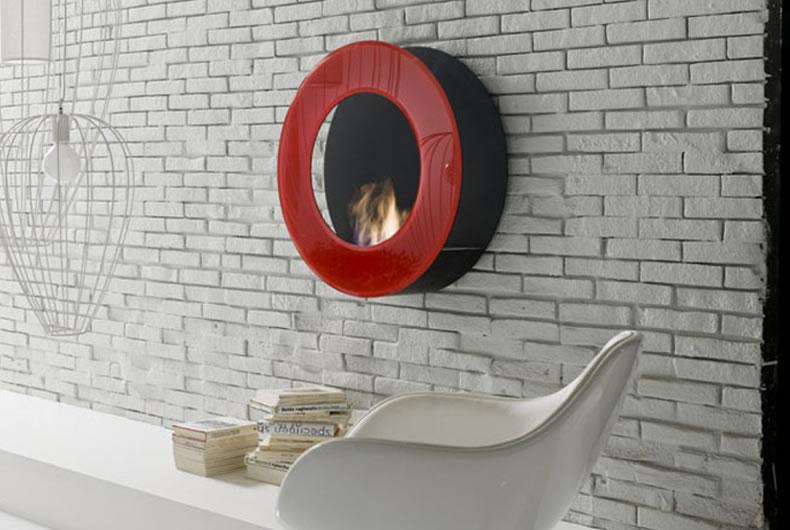 Biocamino a parete Circle di Bio Fireplace