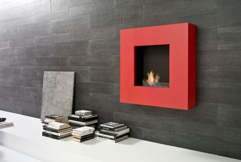 Biocamino a parete Quadra di Bio Fireplace